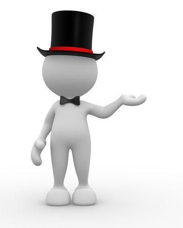 3d people - man, person with hat. Gentleman photo