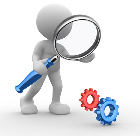 3d people - man, person with a magnifying glass and gear mechanism