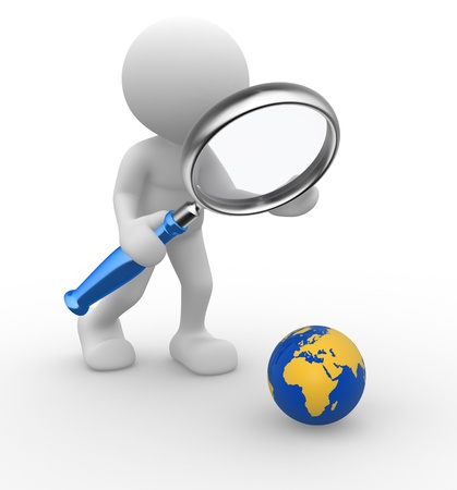 zoom earth: 3d people - man, person with a magnifying glass a earth globe Stock Photo