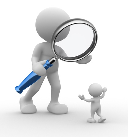 look up: 3d people - man, person with a magnifying glass  Audit Stock Photo