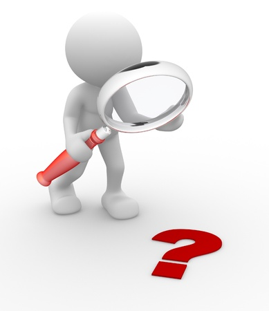 focus on shadow: 3d people - man, person magnifying glass question mark red search
