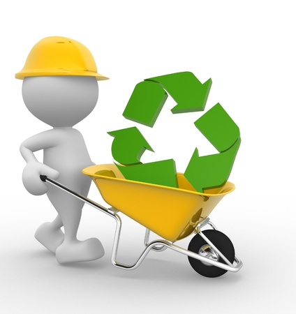 reuse: 3d people - man, person with a wheelbarrow and a recycle sign  Stock Photo