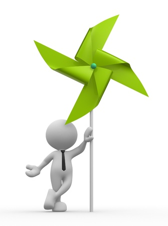 MOLINOS DE VIENTO: 3d gente - hombre, persona con un molino de viento del pinwheel del juguete Foto de archivo
