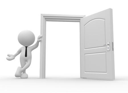 welcome door: 3d people - man, person and a open door  Stock Photo