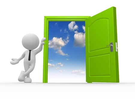 3d people - man, person and a open door to heaven Stock Photo - 17048598