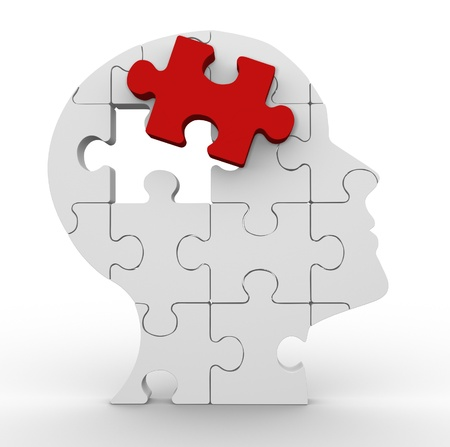 piezas de puzzle: Cabeza humana 3d hecha de puzzle. 3d render