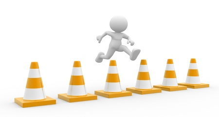 3d people - man, person jumping over traffic cones