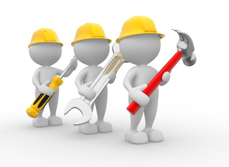 steel workers: 3d people - men, person with the tools in the hands. Wrench, hammer and screwdriver