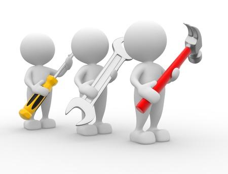 riparatore: 3d persone - uomini, persone con gli strumenti nelle mani. Chiave, martello e cacciavite