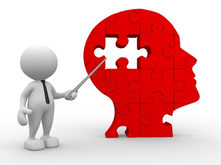 missing puzzle piece: 3d people - man, person pointing a human head of pieces puzzle. Stock Photo