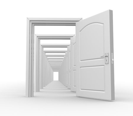 open doors: Doors  open. Opportunity. 3d redner Stock Photo
