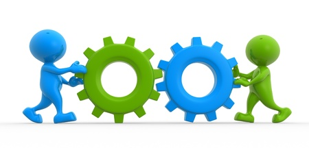 3d people - men, person with gear mechanism.  Wheels Stock Photo - 17075756
