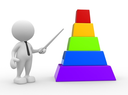 pyramide humaine: 3d personnes - homme, personne et le graphique vierge. D�veloppement du concept Banque d'images
