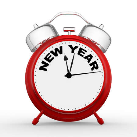 year 3d: Red alarm clock -  new year.. 3d render Stock Photo