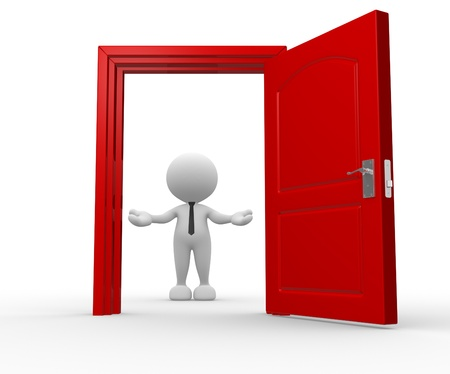 welcome door: 3d people - man, person and a open door. Businessman. Welcome Stock Photo