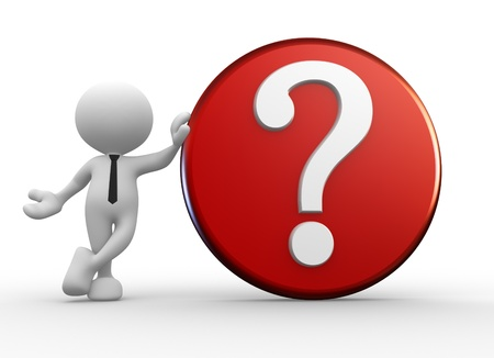 symbols metaphors: 3d people - man, person with question mark. Stock Photo