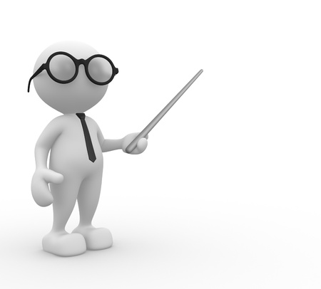 3d people - man, person with pointer on white background  photo