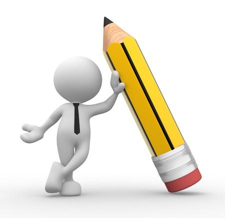 crayon: 3d personnes - homme, personne avec un crayon Banque d'images
