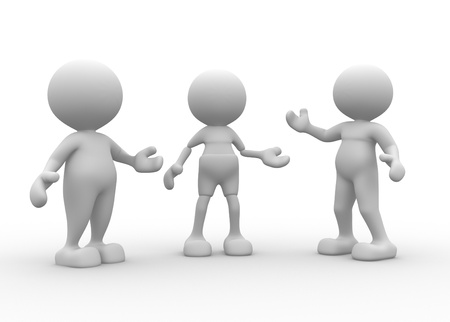 3d people - men, person talking in group