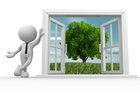 open window: 3d people - man, person with a open window and a tree.