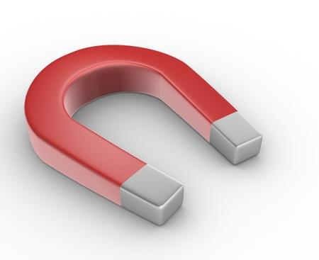 3d magnet horseshoe. 3d render photo