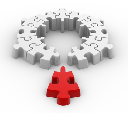 3d a last jigsaw piece for puzzle. Innovation concept. photo