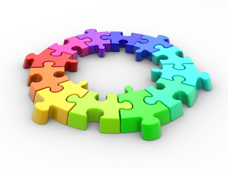 merge together: 3d piece of puzzle( jigsaw). 3d render Stock Photo