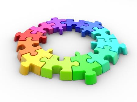 3d piece of puzzle( jigsaw). 3d render