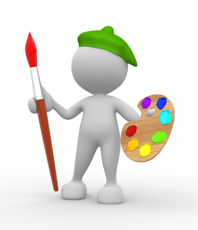 3d people - man, person with paintbrush. Painter Stock Photo