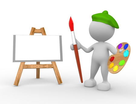 artisan: 3d people - man, person artist painting on a canvas on an easel. Stock Photo