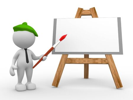 3d people - man, person artist painting on a canvas on an easel. Stock Photo - 17100175