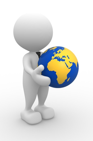 3d people - man, person with a earth globe Stock Photo - 17100047