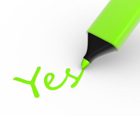 tickbox: Marker and word. Choosing yes. 3d render Stock Photo