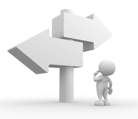 highroad: 3d people - man, person with a directional sign. Choose your way