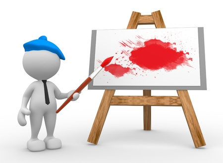 3d people - man, person painting on a canvas on an easel. Stock Photo