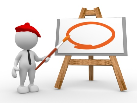 3d people - man, person painting on a canvas on an easel. Stock Photo - 17100176