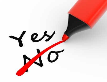 tickbox:  Choice between yes and no with a marker. 3d render