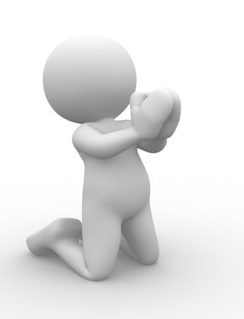 inginocchiarsi: Persone 3d - uomo, persona in ginocchio a pregare.
