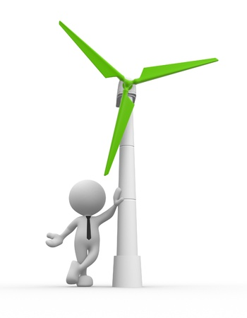 3d people - man, person with a wind turbine. Concept of ecology. Stock Photo - 17101157