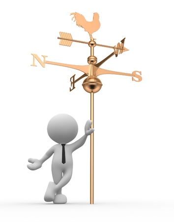 3d people - man, person with weather vane photo