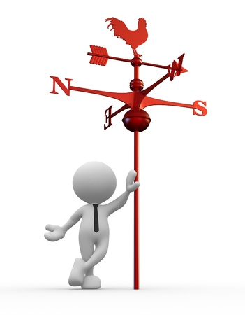weather vane: 3d people - man, person with weather vane Stock Photo