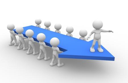 iniciativas: 3d gente - hombre, persona con una flecha. Concepto de trabajo en equipo y liderazgo Foto de archivo