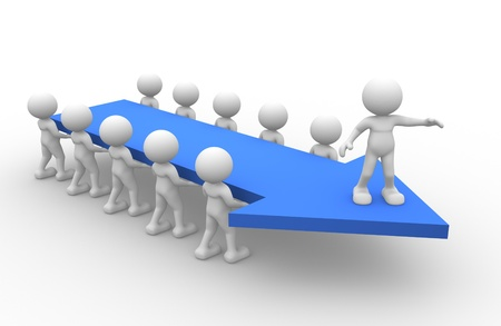initiatives: 3d people - man, person with a arrow.  Concept of teamwork and leadership