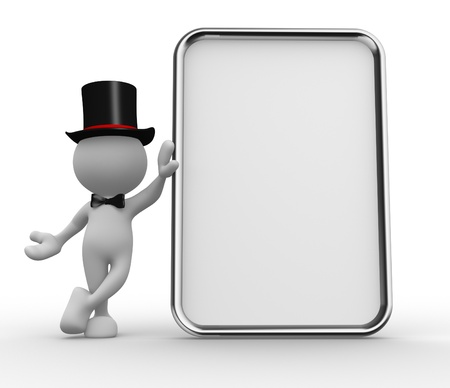3d people - men, person with a blank board. Stock Photo - 17127658