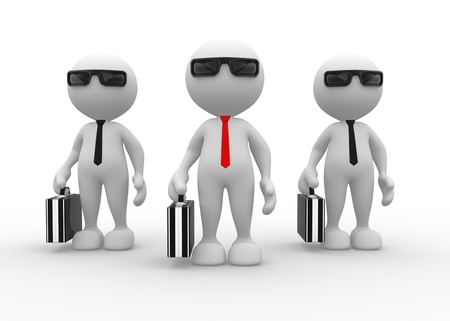 unrecognizable person: 3d people - man, person with briefcase and tie. Businessman. Teamwork.