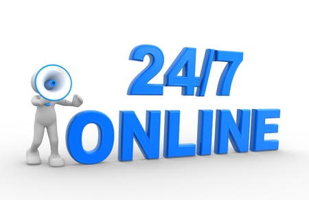 24 7: 3d people - man, person with a megaphone and text  247 online