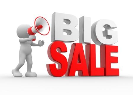 """merken: 3d Menschen - ein Mann, Person mit einem Megaphon und Text """"Big Sale"""" Lizenzfreie Bilder"""