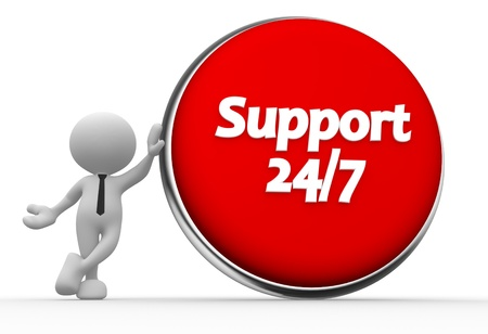 3d people - man, person with a button and text ' support 247 ' photo