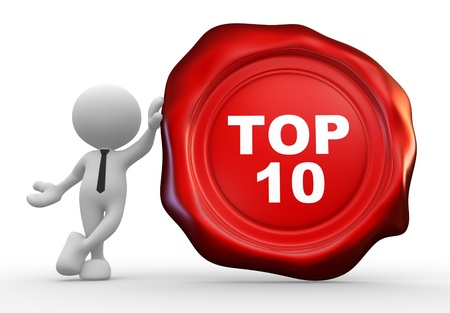 3d people - man, person with wax seal and text ' top 10 '. photo