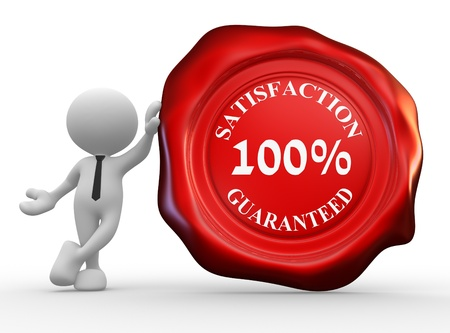 satisfaction guarantee: 3d people - man, person with wax seal and text  100% satisfaction guarantee.